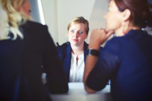 lady in interview/meeting