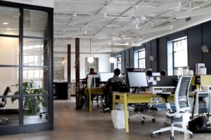 Modern office layout with co-working space