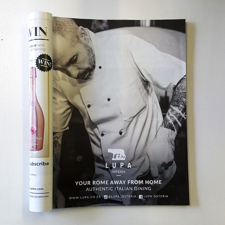 graphic design, Lupa ad featured in Taste Mag